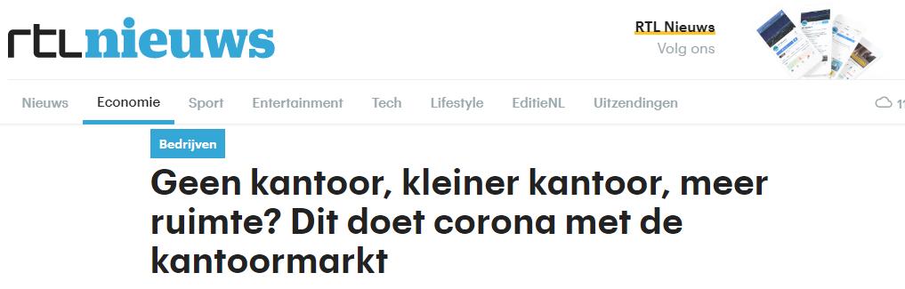 RTL-nieuws: Dit doet corona met de kantoormarkt
